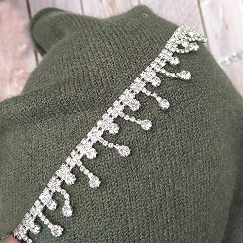 1 Yard Craft Material Crystal Rhinestone Fringe Trim Chain cuttable for Cloth Bag Shoes Cloth Party Decorations (Small Finge Silver)