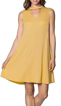 a42b6d85de654 Velucci Swing Dress for Women - Womens Tunic Sleeveless Tank Summer Dresses  (Cantaloupe-S