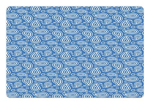 - Lunarable Contemporary Blue Pet Mat for Food and Water, Abstract Modernistic Paisley and Rounds Repetitive Pattern, Rectangle Non-Slip Rubber Mat for Dogs and Cats, 18