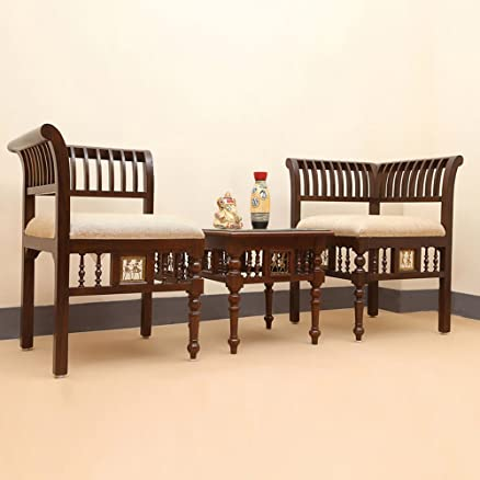 Exclusivelane L Shaped Teak Wood Living Room Chair U0026 Table Set With Dhokra  U0026 Warli Work Part 56
