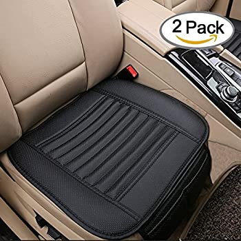 Breathable 2pc Car Interior Seat Cover Cushion Pad Mat for Auto Supplies Office Chair with PU Leather Bamboo Charcoal (Black)