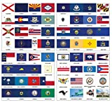 Creanoso US States Flags and American Symbols Stickers (5-Sets) - 20 sheets - Decorative Learning Fun Sticky Wall Art Décor – Great Educational Tool Pack for Men, Women, Adults, Teachers, Educators