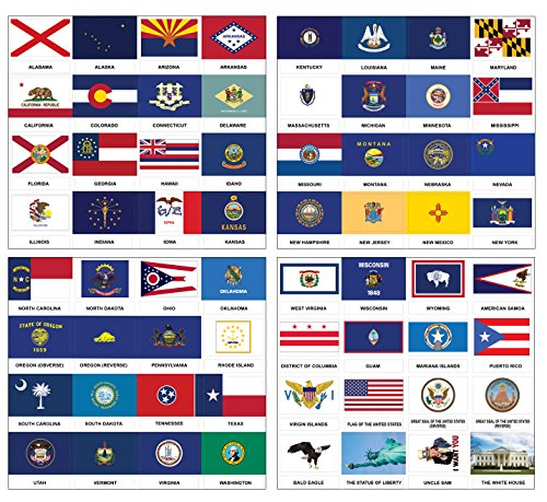 (Creanoso US States and Territories Flags and American Symbols Stickers (2-Sets) - 8 Sheets - Fun Learning Decorating Sticker Wall Decal for Men, Women, Adult Pack)