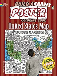 Build A Giant Poster Coloring Book United States Map Dover Build A Poster