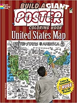 Build A Giant Poster Coloring Book United States Map Dover - Giant us map