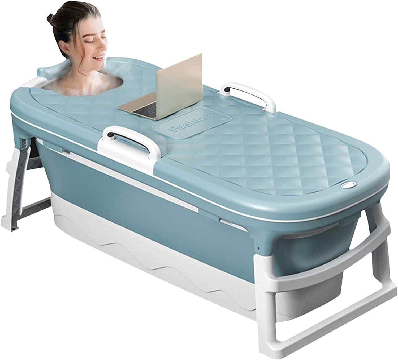 AeasyG Bañera Plegable para Adultos, bañera portátil de Gran Capacidad, homeotermia de Larga duración, Drenaje Doble, Cubierta extraíble, fácil de Plegar, 115 * 62 * 52 cm, Verde