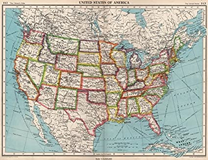 Amazon.com: USA. United States of America. State map ...
