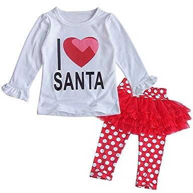 8fedc17845379 Amazon.com  stylesilove Baby Girls I Love Santa Top and Tutu Legging ...