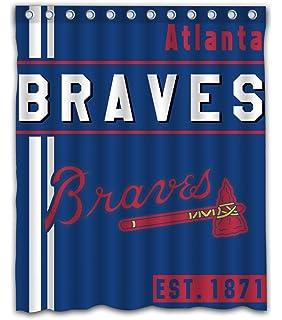 Atlanta Baseball Team Emblem Waterproof Shower Curtain Blue Design Polyester For Bathroom Decoration 60 X 72