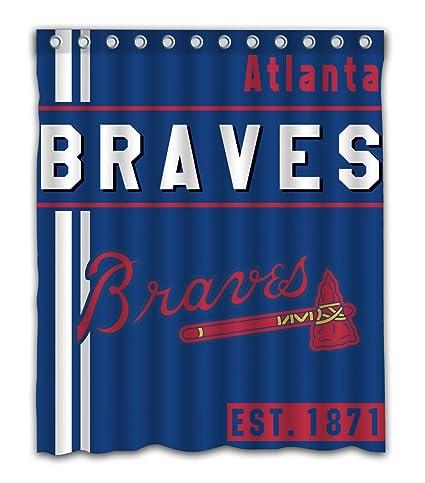 Amazon Atlanta Baseball Team Emblem Waterproof Shower Curtain