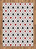 Casino Area Rug by Ambesonne, Poker Cards Advertising Holidays Getaways Tourist Destinations Pleasure Art Print, Flat Woven Accent Rug for Living Room Bedroom Dining Room, 5.2 x 7.5 FT, Red Black