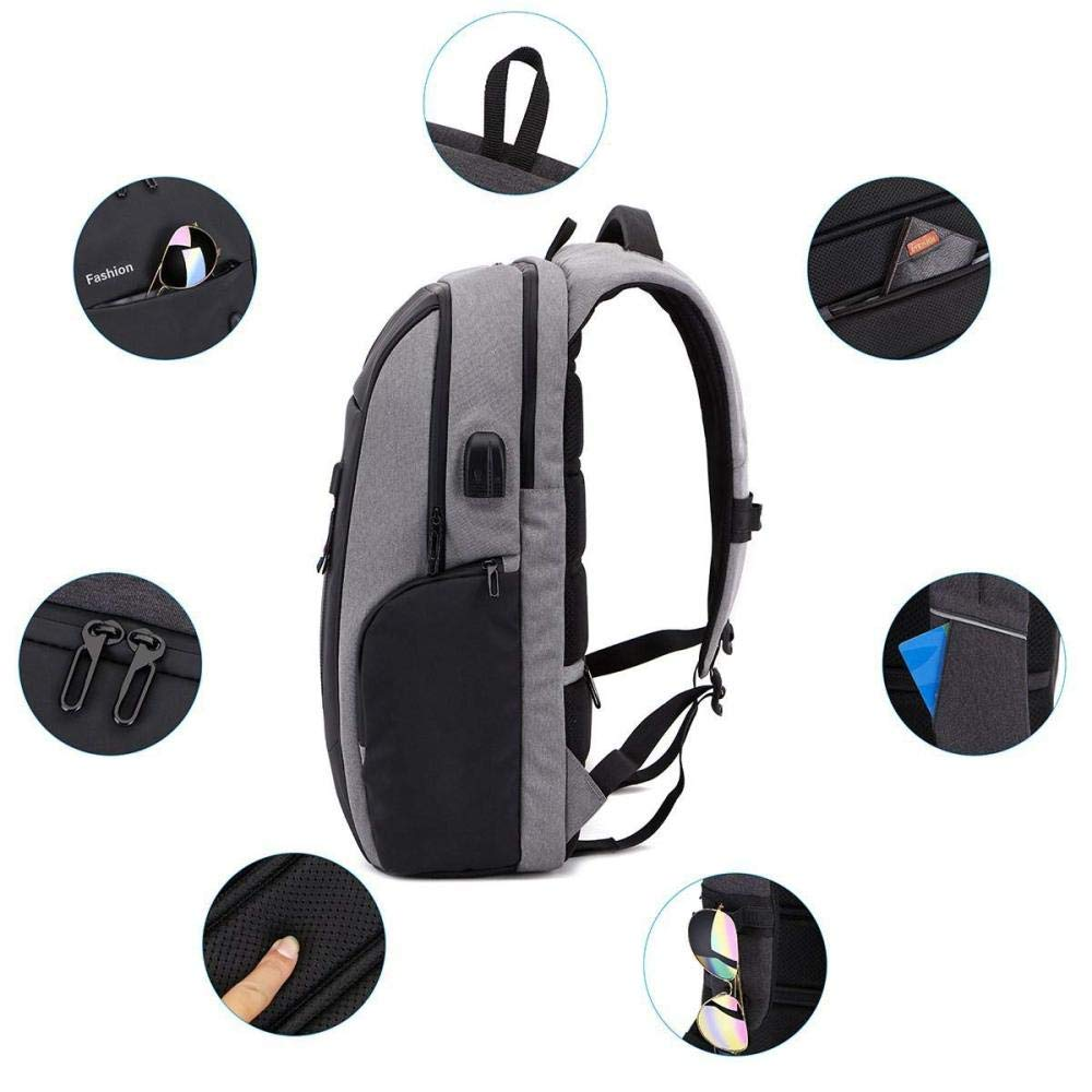 Water Resistant Lightweight School College Bookbag 17.3 Inch Laptop Backpack with USB Charging Port for Men Women,Anti Theft Business Slim Travel Backpacks Computer Bag