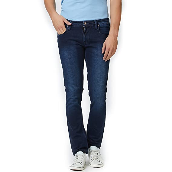 832737c1b6155 LAWMAN PG3 Blue Solid Slim fit Jeans  Amazon.in  Clothing   Accessories