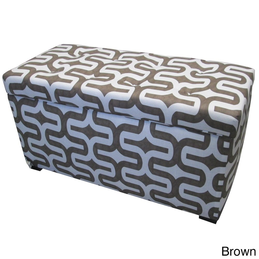 SOLE Designs Angela Collection Contemporary Fabric Upholstered Accent Entryway Storage Trunk Brown
