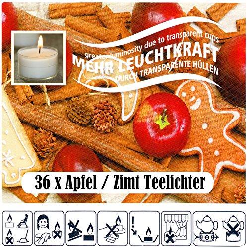 36 Teelichter Apfel Zimt Duft Set Teelicht mit transparente Hülle und doppelter Leuchtkraft