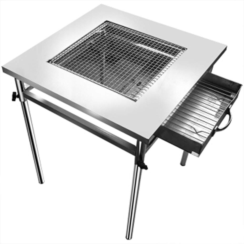 MEI XU Barbecue Grill BBQ Grill - Outdoor Stainless Steel Grill Foldable Portable Grill Commercial Thickened Widened Large Barbecue Table can be Split Silver Rectangular Charcoal Grill Table