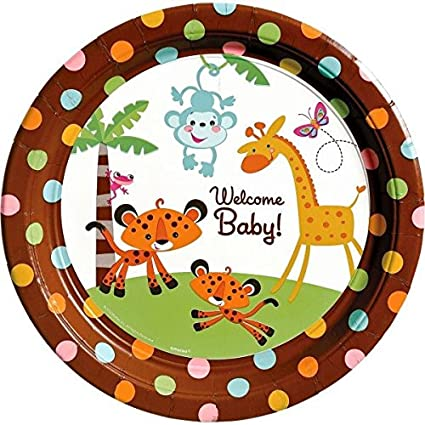Amscan Adorable Baby Shower Party Jungle Animal Round Dinner Plates Tableware Paper 10u0026quot;  sc 1 st  Amazon.com & Amazon.com: Amscan Adorable Baby Shower Party Jungle Animal Round ...