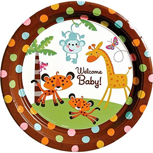 Adorable Fisher Price Baby Shower Party Jungle Animal Round Dinner Plates Tableware, Paper, 10
