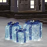 3 pc Hanukkah Gift Boxes Presents with Lights Holiday Yard Art
