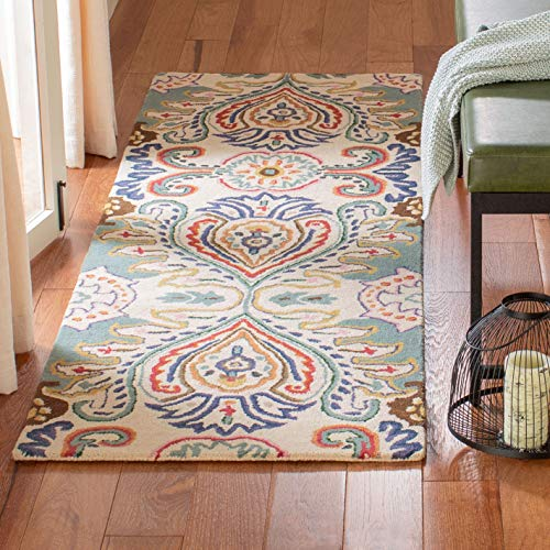 Safavieh Bella Collection BEL118A Handmade Ivory and Blue Premium Wool Area Rug 2 6 x 4