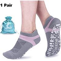 Muezna Non Slip Yoga Socks Women, Anti-Skid Pilates, Barre, Bikram Fitness Socks Grips, Size 5-10