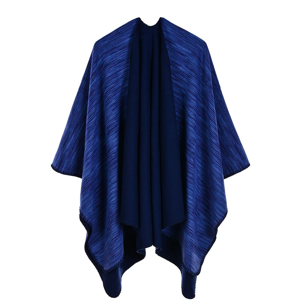 SherryDC Women's Stripes Knitted Open Front Poncho Cape Cardigan Coat Shawl Wrap