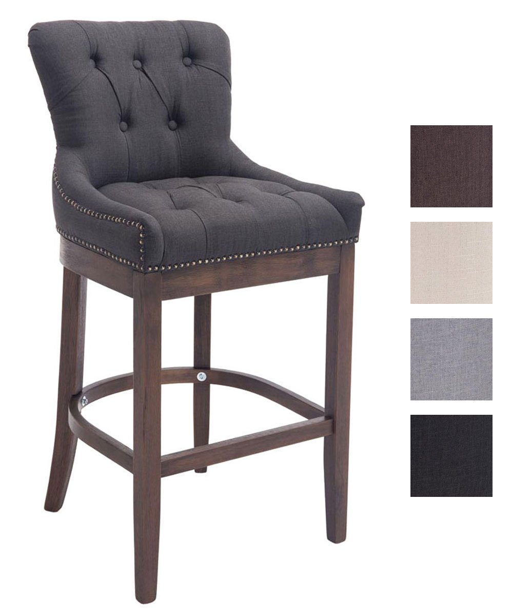 grey fabric bar stools uk. clp stylish wooden bar stool buckingham, dark-antique frame, armchair with thick tweed grey fabric stools uk