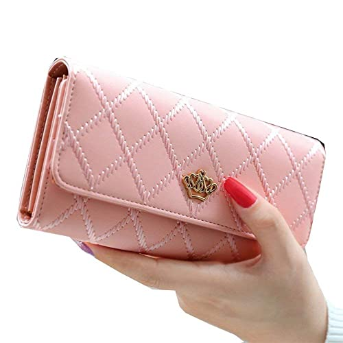 bf375192 Women Leather Long Wallet Cute Lady Thread Purse Girl PU Leather Clutch Bag:  Handbags: Amazon.com