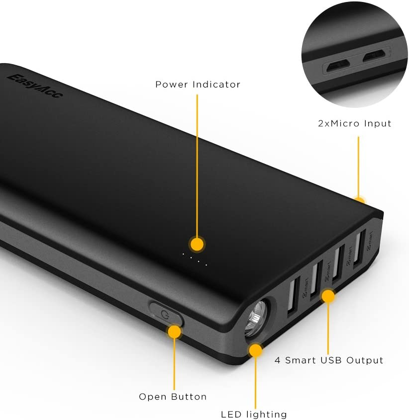 4A Input 4.8A Smart Output EasyAcc 26000mAh Power Bank External Battery Charger Portable Charger for Android Phone Samsung HTC Tablets Black and Grey