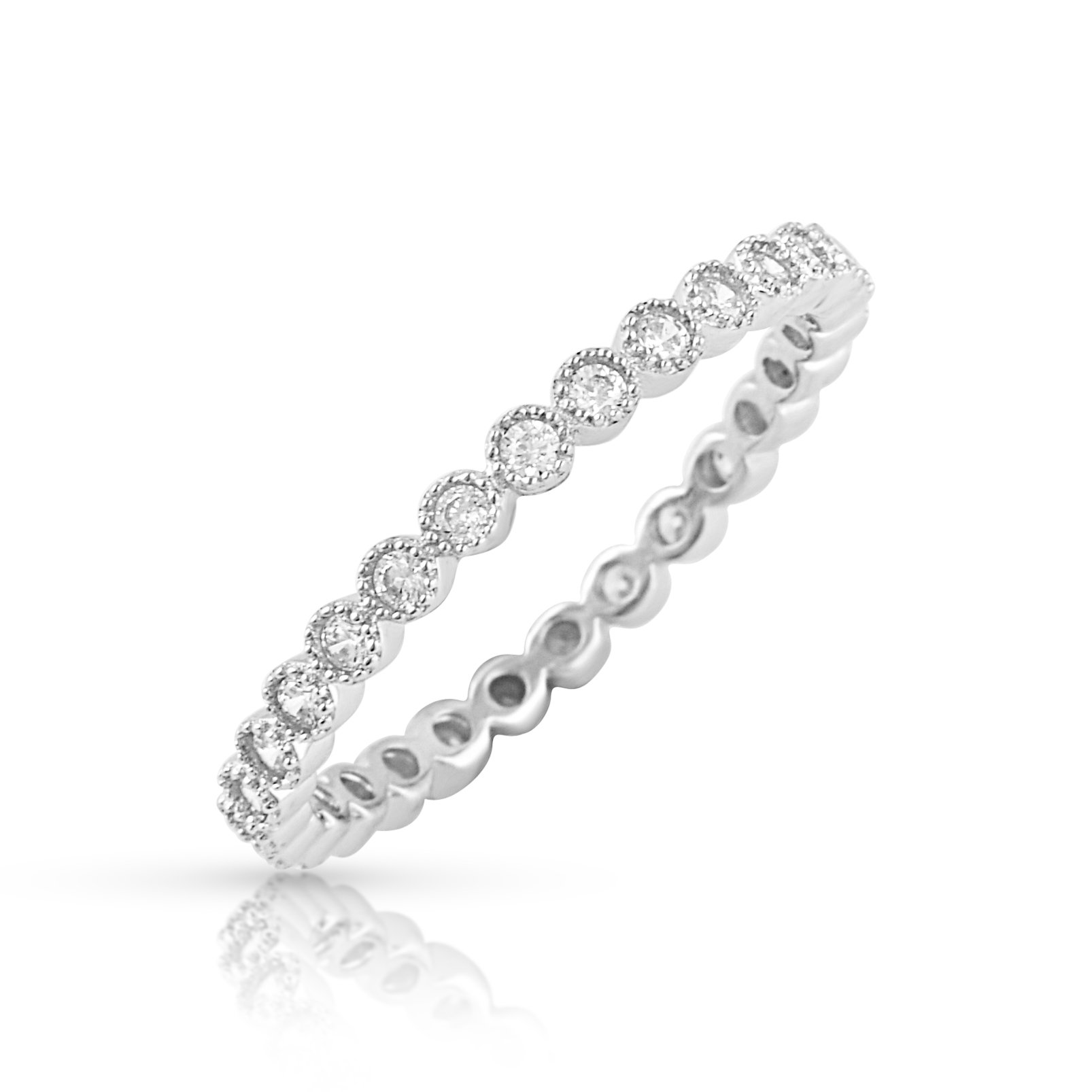 Sterling Silver Simulated Diamond Stackable Eternity Ring - Size 6