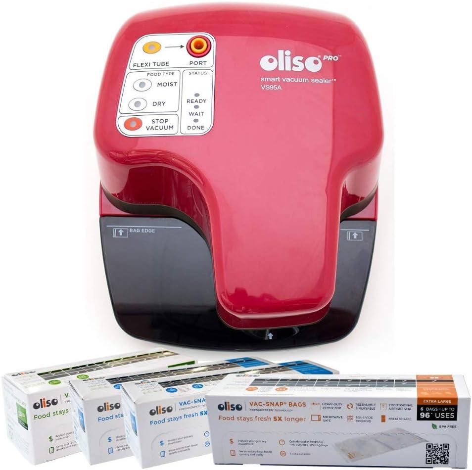 Oliso Pro VS95A Smart Vacuum Sealer, Red + Oliso Pro VAC-SNAP Bags (20 Large 1 Gallon Bags, 14 Medium 1 Quart Bags, 6 Jumbo 2 Gallon Bags)