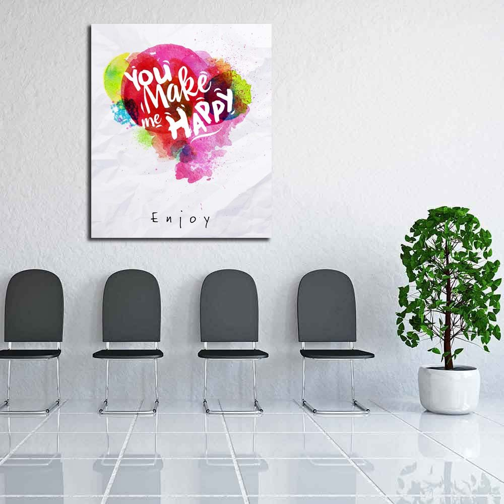 Pitaara Box You Make Me Painting Happy Unframed Canvas Painting Me 30 x 35.6inch 742529