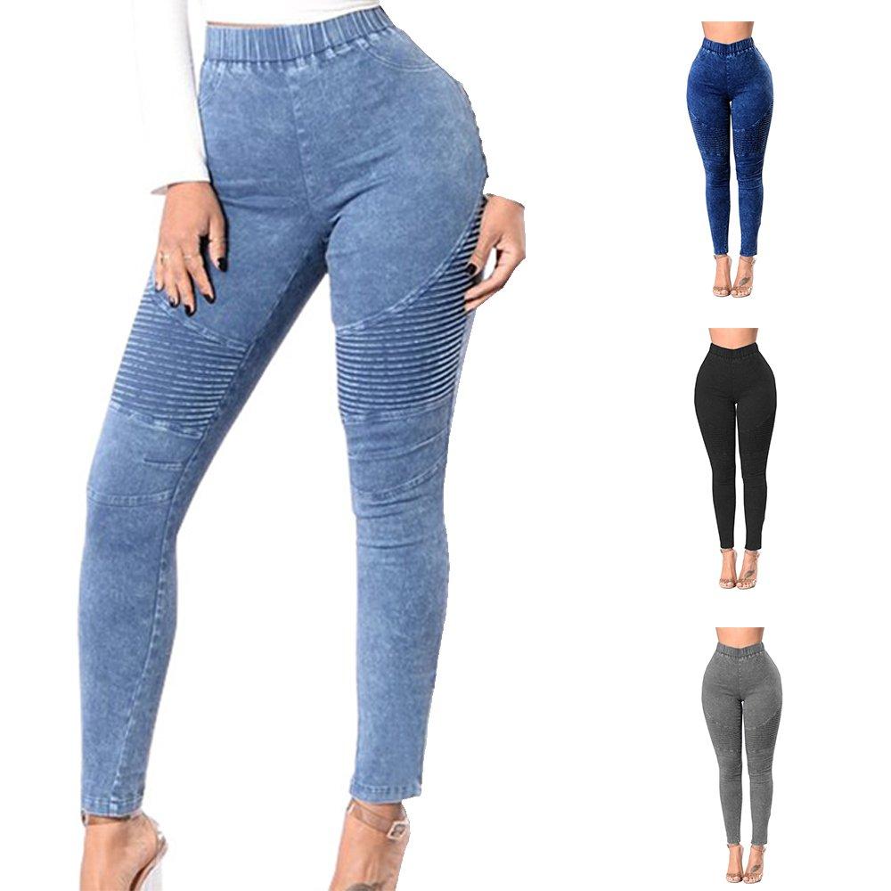 Hibote Jeans Mujer Push Up Jegging Pantalones Cintura Alta Leggings Con Bolsillos Treggings Pantalones Ajustados De Color Solido 4 Colores S M L Xl 2xl Vaqueros