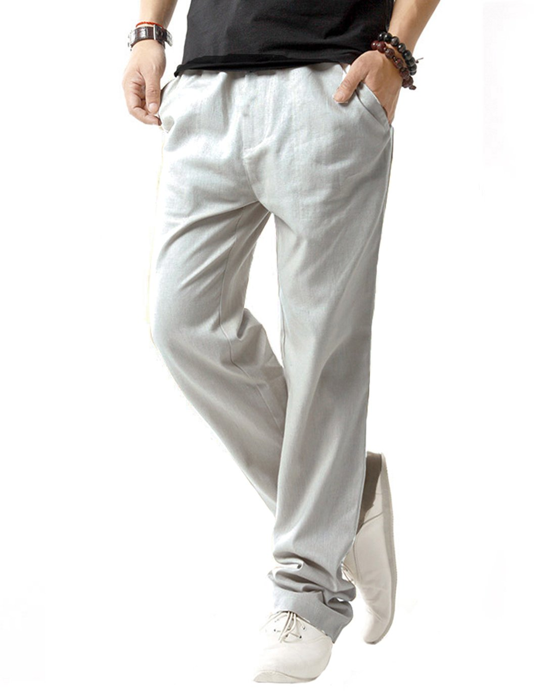 SIR7 Men's Linen Casual Lightweight Drawstrintg Elastic Waist Summer Beach Pants Light Grey 2L by SIR7 (Image #1)