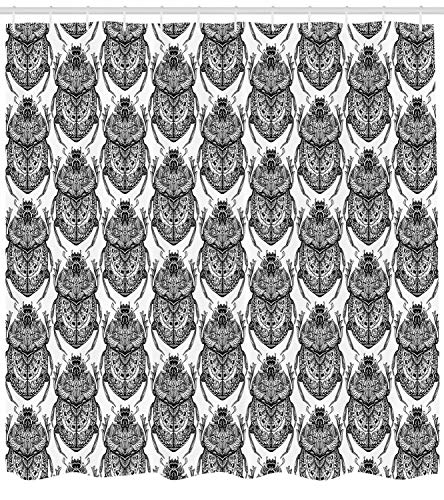 "Egyptian Shower Curtain Hand Drawn Stylized Scarabs Mythological Doodle Bugs Ethnic Insect Beetle Tattoo Fabric Bathroom Decor Set with Hooks Extra Long White and Black 40""x70"""