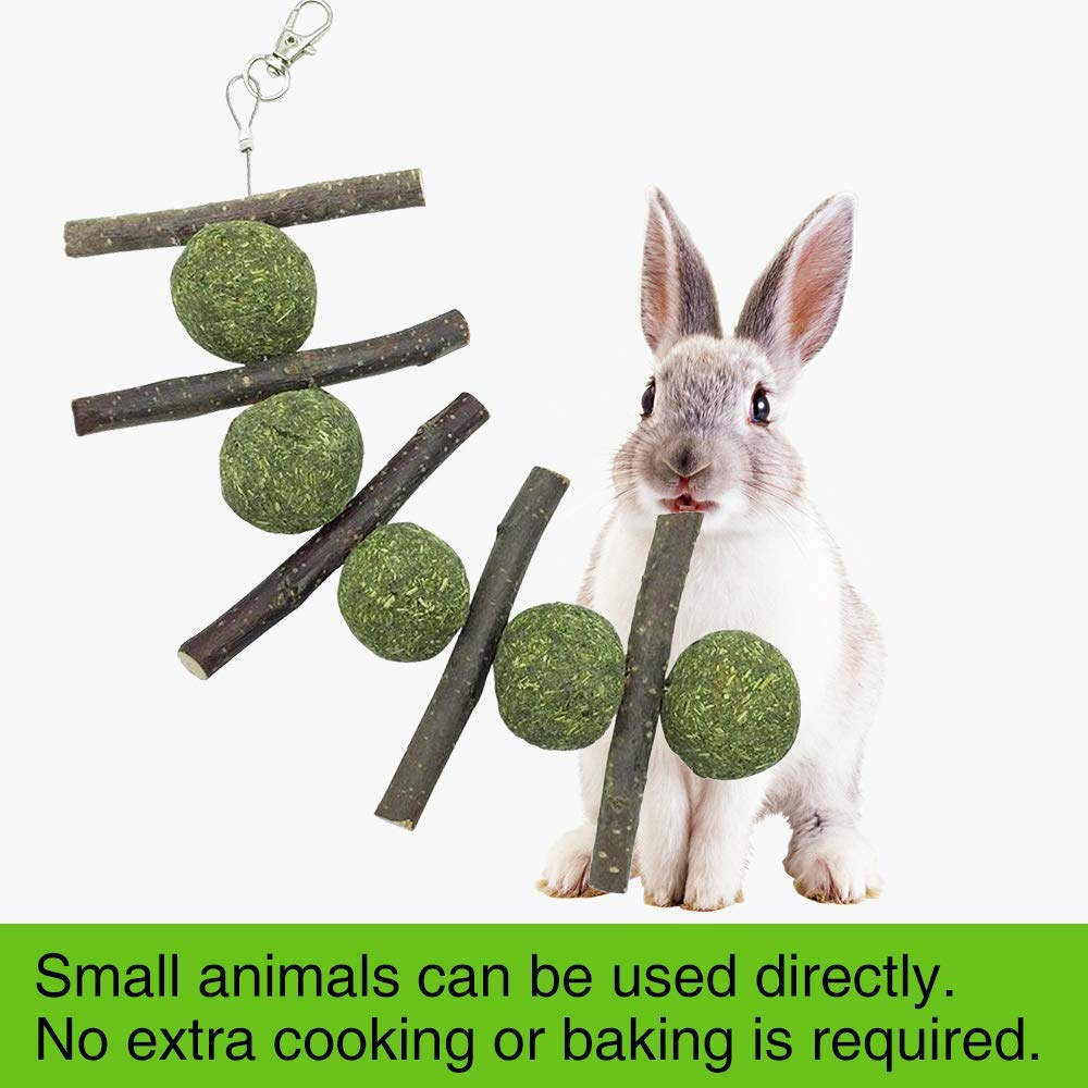 Bunny Chew Toys for Teeth Hamsters Natural Organic Apple Sticks Rabbits Improves Dental Health Chewing//Playing Chinchillas Guinea Pigs Pet Snacks Toys Suitable for Rabbits Green