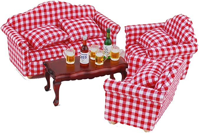 NWFashion 1//12 Scale Miniature Dollhouse Furniture Sofa Chair with Beer Green