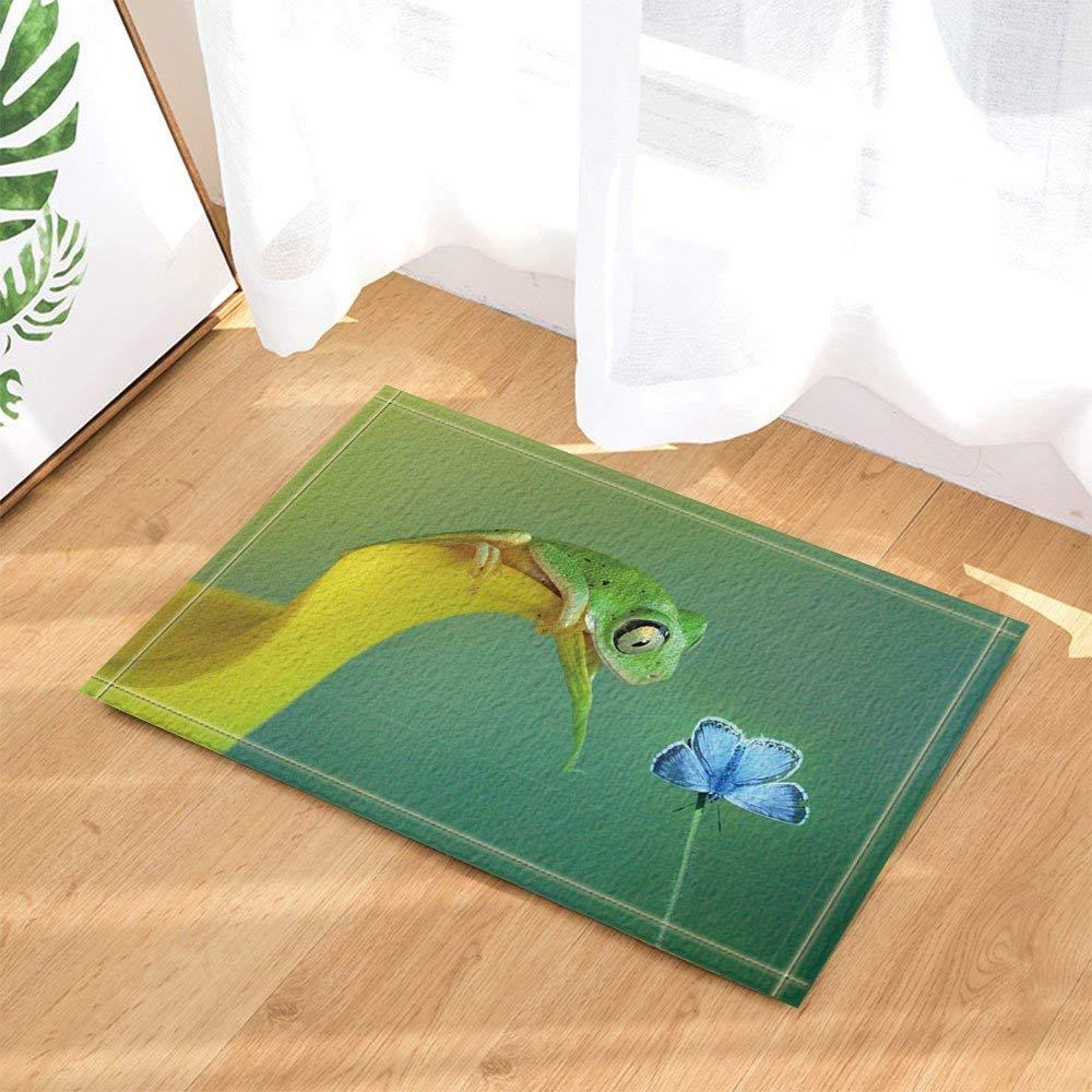 gohebe Tiere Freundschaft Decor Frosch auf Blumen auf die Fu/ßmatte blau Butterfly Bad Teppiche rutschhemmend Boden Eing/änge Innen vor Fu/ßmatte Kinder Badematte 39,9x59,9cm Badezimmer Zubeh/ör