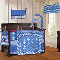 BabyFad Anchor Nautical Chevron Zig Zag 10 Piece Baby Crib Bedding Set