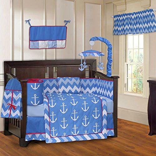 BabyFad Anchor Chevron Zig Zag 10 Piece Baby Crib Bedding Set Custom Crib Bedding Set