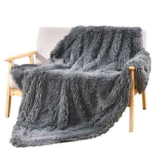 """Decosy Silky Soft Faux Fur Warm Cozy Sofa Blanket Grey 50""""x 60"""" - Reversible Puffy Fleece Flannel TV Blanket for Couch Chair Bed - All Season Fluffy Quilt Fuzzy Comforter"""