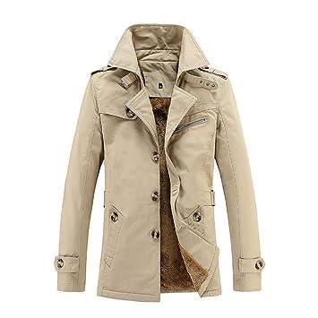 ZHRUI Abrigo de hombre, tamaño extra sólido, botón de polar Parka, bolsillo informal