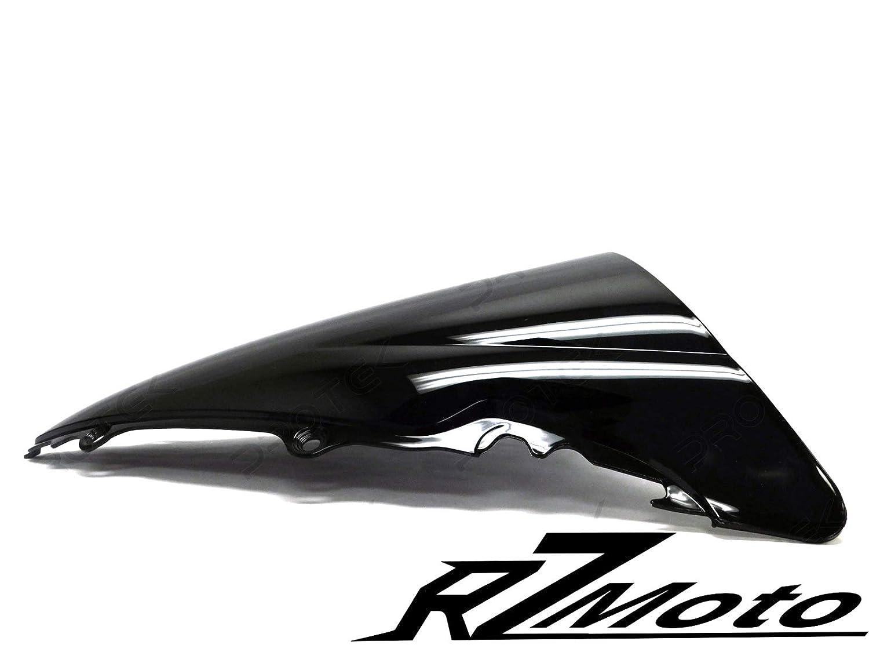 RZMoto ABS Plastic Injection Black Smoke Double Bubble Windscreen Windshield With 5mm Black Wellnut Bolt Kit for 2004 2005 2006 2007 2008 2009 2010 Yamaha FZ6 FAZER