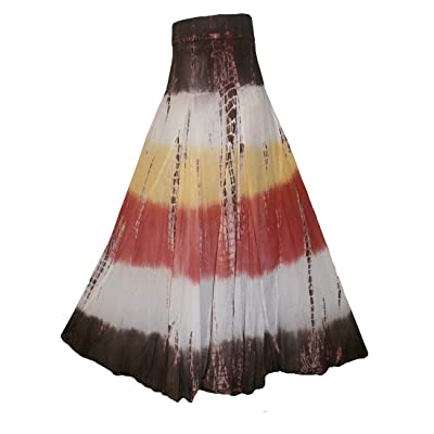 Agan Traders 61 SK Assorted Women's Flowing Bohemian Cotton Long Tie Dye Maxi Skirt at Women's Clothing store