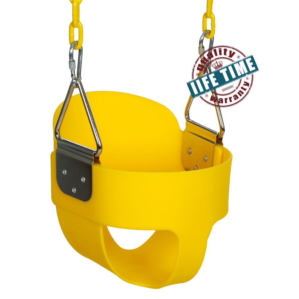 ANCHEER Toddler Swing Seat High Back Full Bucket Swing Seat with 60-inch Coated Chain and Two Snap Hooks -Swing Set Accessories (Yellow#) by ANCHEER