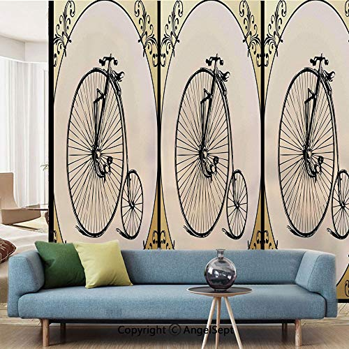 AngelSept Window Films Privacy Decorate,Retro Big and Small Tired Bicycle on A Vintage Round Framed Floral Background Boho,W15.7xL63in,for Home Office,Tan Cream