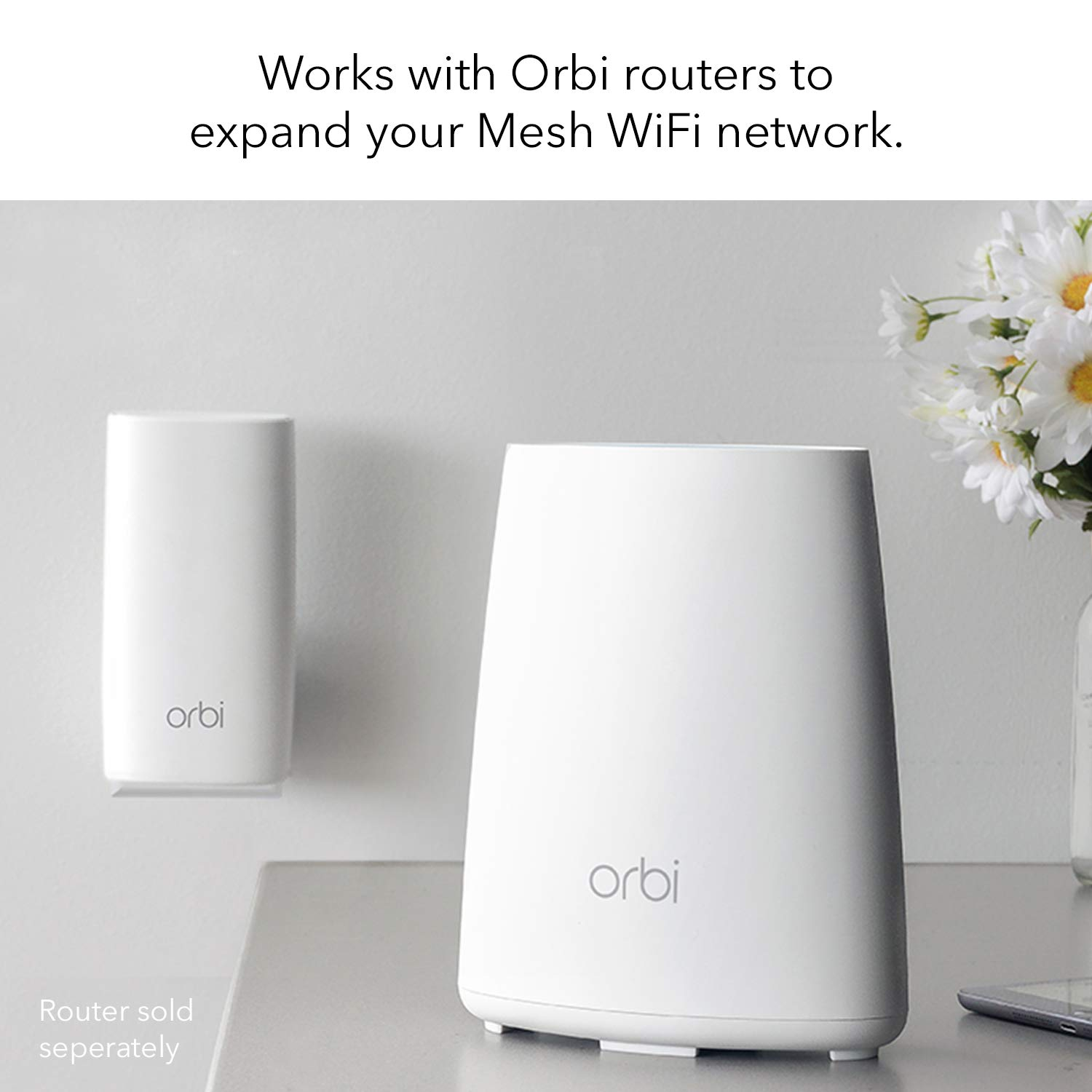 NETGEAR Orbi Wall-Plug Whole Home Mesh WiFi Satellite Extender - works with  your Orbi router to add 1,500 sq  feet of coverage at speeds up to 2 2