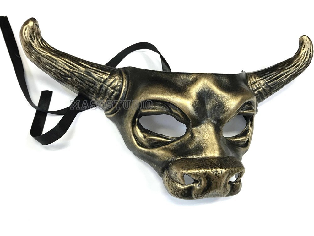 Bull Cow Mask Animal Masquerade Black Gold Halloween Costume Cosplay Party mask by MasqStudio