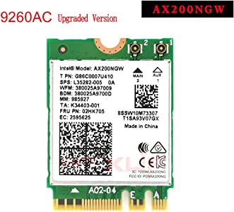 MQUPIN Intel Dual Band Wireless AX200NGW 2.4Gbps 802.11ax Wireless Intel AX200 WiFi Card Bluetooth 5.0 for Windows 10, 64-bit, Google Chrome OS, Linux