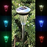 Best Discount Solar Powered Stainless Steel Color Change Led Garden Path Light 10 Pack